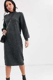 Tall Fluffy Midi Dress With Seam Detail