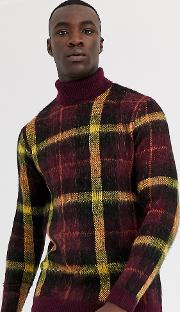 Tall Knitted Jumper With Roll Neck