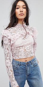 Tall Lace Crop Long Sleeve Top