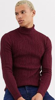Tall Muscle Fit Lightweight Cable Roll Neck Jumper