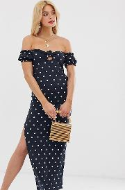 Tall Off Shoulder Crinkle Maxi Sundress With Puff Sleeve Spot Print
