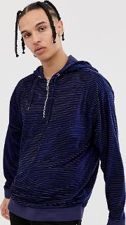 Tall Oversized Velour Striped Hoodie With Half Zip