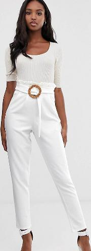 Tall Paperbag Waist Trousers With Rattan Belt
