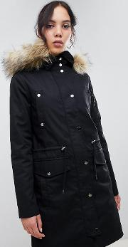 Tall Parka With Detachable Faux Fur Liner