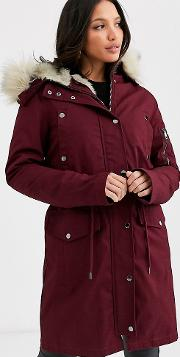 Tall Parka With Detachable Faux Fur Liner Oxblood