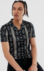 Tall Polo With Over Paisley Print And Revere Collar