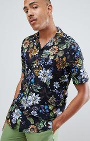 Tall Regular Fit Floral Shirt With Revere Collar