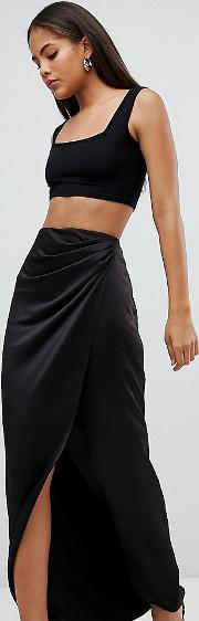 Tall Satin Wrap Maxi Skirt