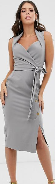 Tall Shawl Collar Tie Front Midi Dress With Button Skirt