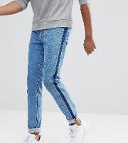 Tall Skinny Jeans Mid Wash With Side Stripe
