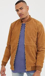 Tall Suede Bomber Jacket