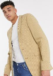 Tall Super Skinny Wool Mix Blazer With Micro Check Mustard