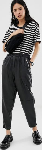Tapered Leather Look Trousers