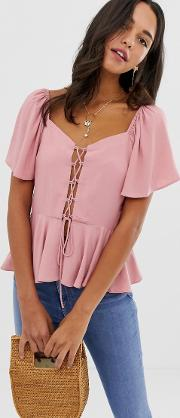 Tea Blouse With Lace Up Front Detail