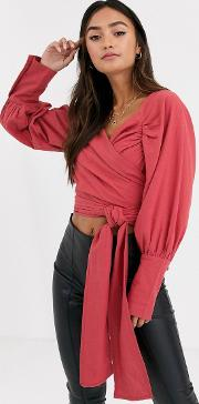 Textured Long Sleeve Top With Wrap Around Waist Detail