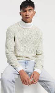Textured Rib Turtle Neck Jumper With Contrast Ribs