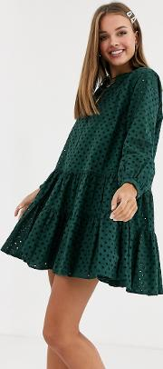 Tiered Trapeze Mini Dress Broderie