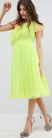 Tulle One Shoulder Midi Dress