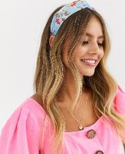 Twist Headband With Pink Floral Print Blue