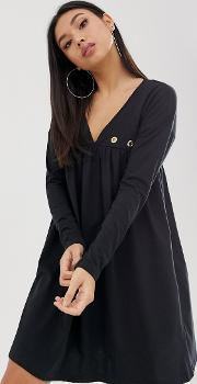 Ultimate Long Sleeve Cotton Smock Dress With Eyelets