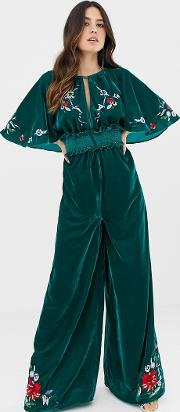 Velvet Kimono Jumpsuit With Embroidery And Embellishment