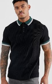 Waffle Polo Shirt With Contrast Tipping