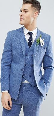 Wedding Skinny Suit Jacket Provence Cross Hatch With Printed Lining