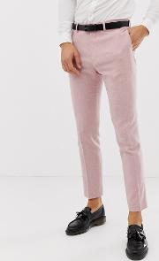 Wedding Skinny Suit Trousers Rose Cross Hatch