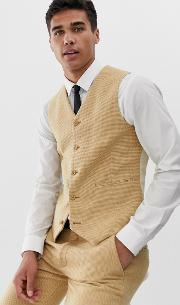 Wedding Super Skinny Suit Waistcoat Stone Wool Blend Micro Check