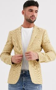 Wedding Super Skinny Wool Mix Blazer With Micro Check Mustard