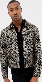 Western Jacket With Gold Sequins Velour