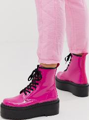 Wide Fit Acton Chunky Lace Up Boots