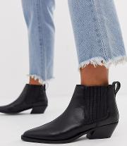 Wide Fit Adelaide Leather Western Chelsea Boots