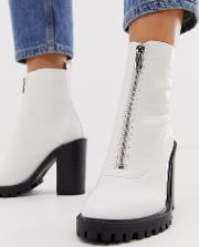 Wide Fit Bella Front Zip Chunky Boots