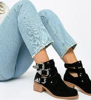 Wide Fit Blair Leather Cut Out Ankle Boots