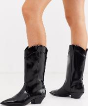 Wide Fit Capricorn Western Pull On Knee Boots