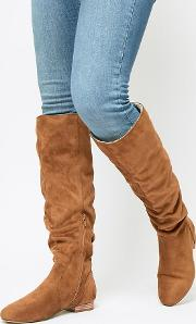 Wide Fit Connie Faux Shearling Knee Boots