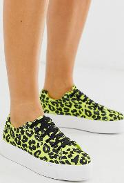 Wide Fit Day Light Chunky Flatform Lace Up Trainers Lime Leopard