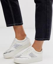 Wide Fit Detect Flatform Trainers And Silver