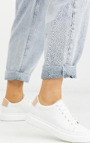 Wide Fit Doro Chunky Lace Up Trainers White And Beige
