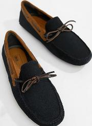 wide fit driving shoes  navy suede with brown leather detail