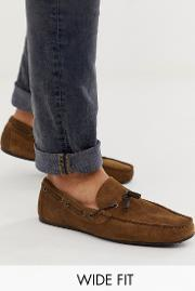Wide Fit Driving Shoes Suede With Plait Detail