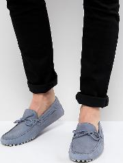 Wide Fit Driving Shoes Suede With Tie Front
