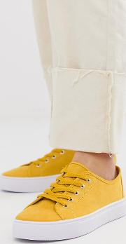 Wide Fit Dusty Lace Up Trainers Mustard