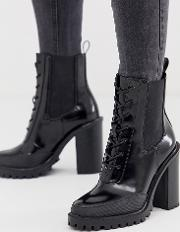 Wide Fit Ellen Chunky Lace Up Boots