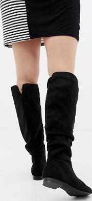 Wide Fit Extra Leg Connie Faux Shearling Knee Boots