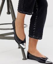 Wide Fit Logan Pointed Ballet Flats With Toe Cap