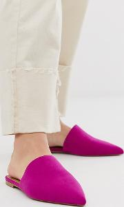 Wide Fit Lorne Pointed Mules Fuchsia