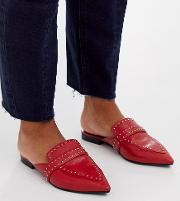 Wide Fit Maximum Studded Leather Pointed Mule