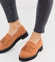 Wide Fit Meze Chunky Fringed Suede Loafers